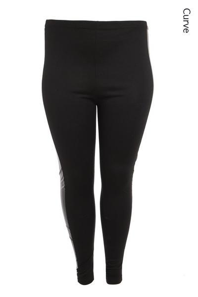 Curve Black Faux Leather Panel Leggings